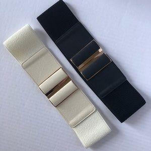 Wide elastic belt off white black gold clasp